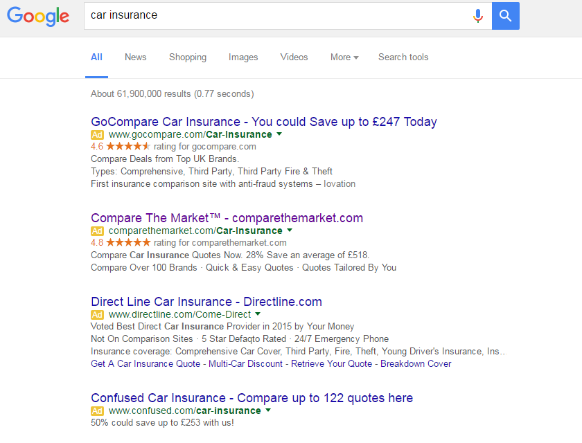 Landing Page Head To Head Car Insurance Search Star